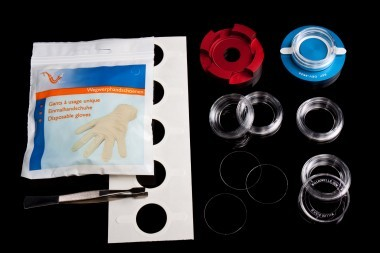 """KIT-5040B. Black dishes. Do-It-Yourself """"Series KIT-5040' dishes. Glass aperture 40 mm."""