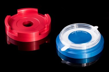DEV-5030. The blue part centers 'adhesive ring and dish'. The red part centers the glass.